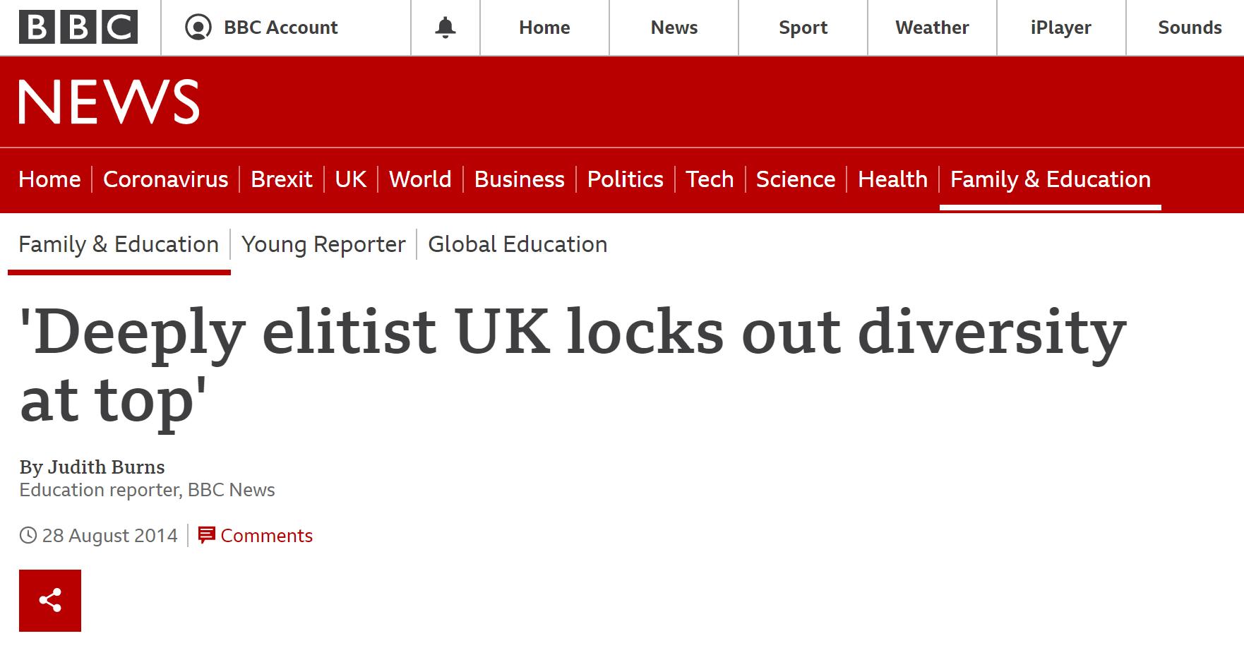 elitist britain coverage bbc